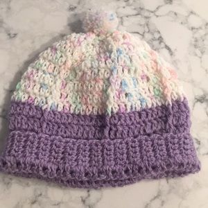 Other - Baby girl knit winter hat purple and multi color
